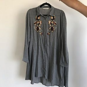 Grey embroidered dress